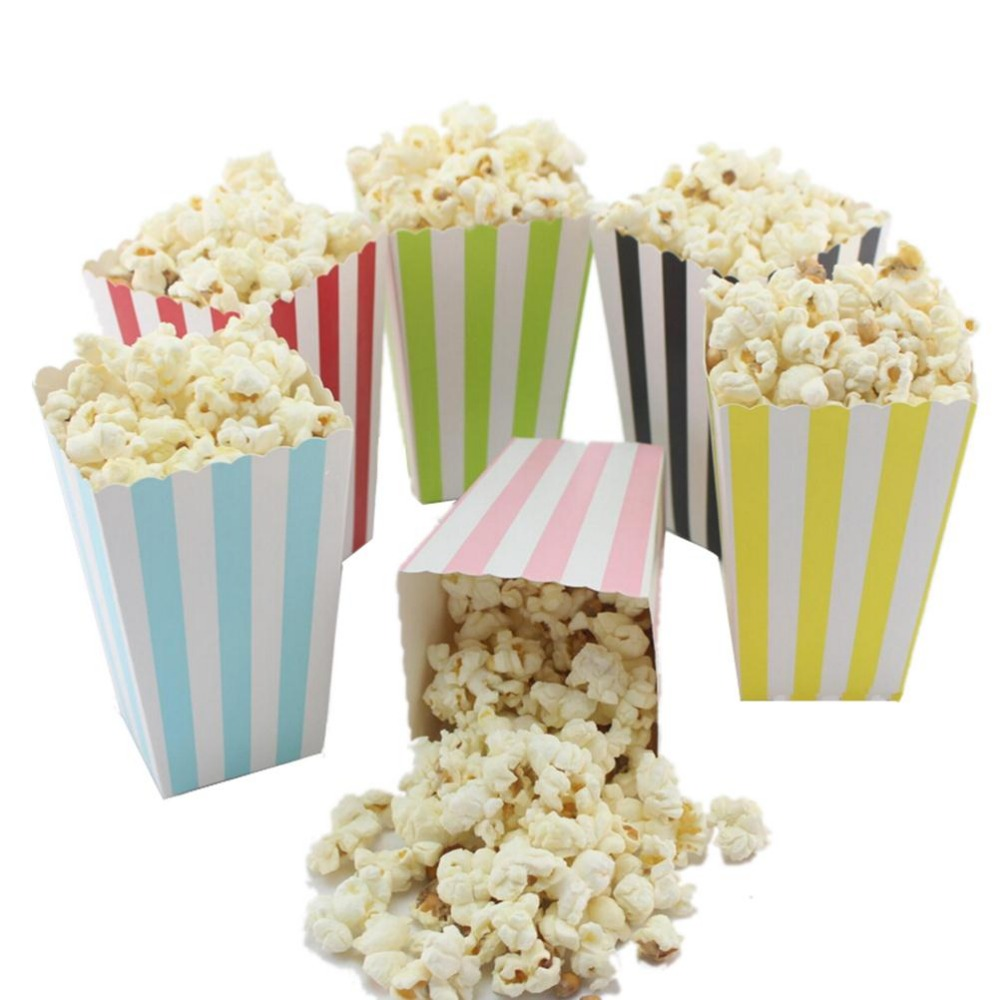 colorful mini party paper popcorn boxes candy favor bags wedding birthday movie party supplies 12pcs