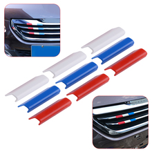 CITALL nowy samochód przedni grill osłona grilla wykończenia flaga francji kolor pasuje do Peugeot 301 4008 308 408 tanie tanio Chrom stylizacja Other 0 027kg For Peugeot 301 4008 308 408 2018 Red Blue White plastic 4 6x1 6x1 5cm (1 81x0 63x0 59inch)(LxWxH)