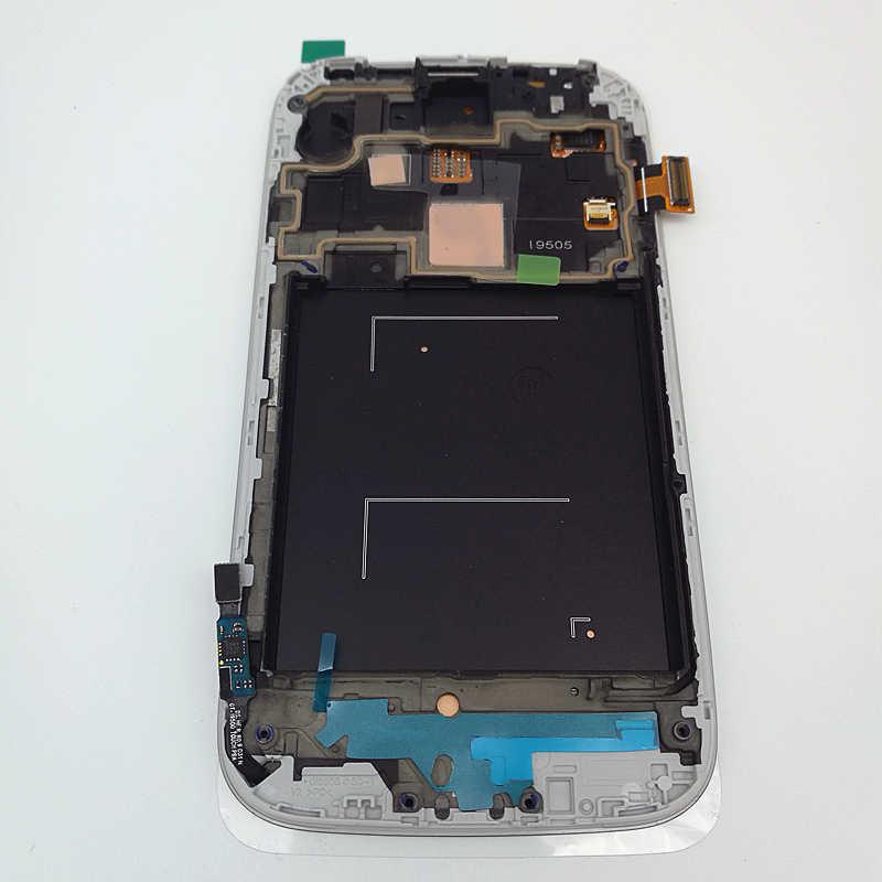 الأصلي سوبر Amoled شاشات lcd لسامسونج غالاكسي S4 I9500 I9505 I9506 I337 شاشة الكريستال السائل + شاشة تعمل باللمس مع الإطار غالاكسي S4 استبدال