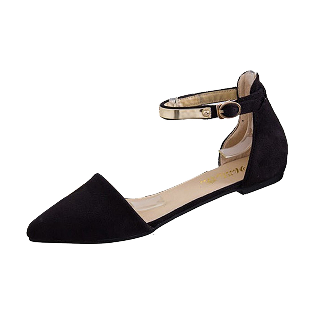 VSEN Hot Woman Shoes Spring Summer Pointed Toe suede Flats Soft Fashion Brief sandals Black US4 new 2017 spring summer women shoes pointed toe high quality brand fashion womens flats ladies plus size 41 sweet flock t179
