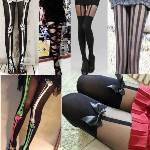 Hot ผู้หญิงเซ็กซี่ Top Stay Up Thigh - Highs ถุงน่อง Nylons Spendex Creative Skeleton กระดูก Hosiery Pantyhose Bowknot Tights
