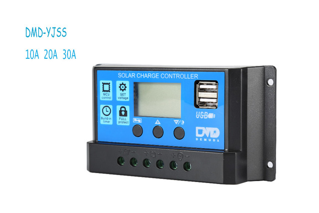 Maywah@PWM Solar Panel Regulator with Dual USB Output  Solar Charge Controller 12V 24V Automatic10A 20A 30A  Solar Battery Panel