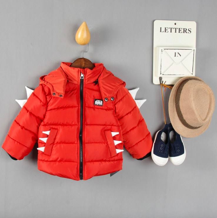 2016 Boy s Jacket Down Long Sleeve Hooded Warm Winter Baby Boys Cute Monster Clothing Children