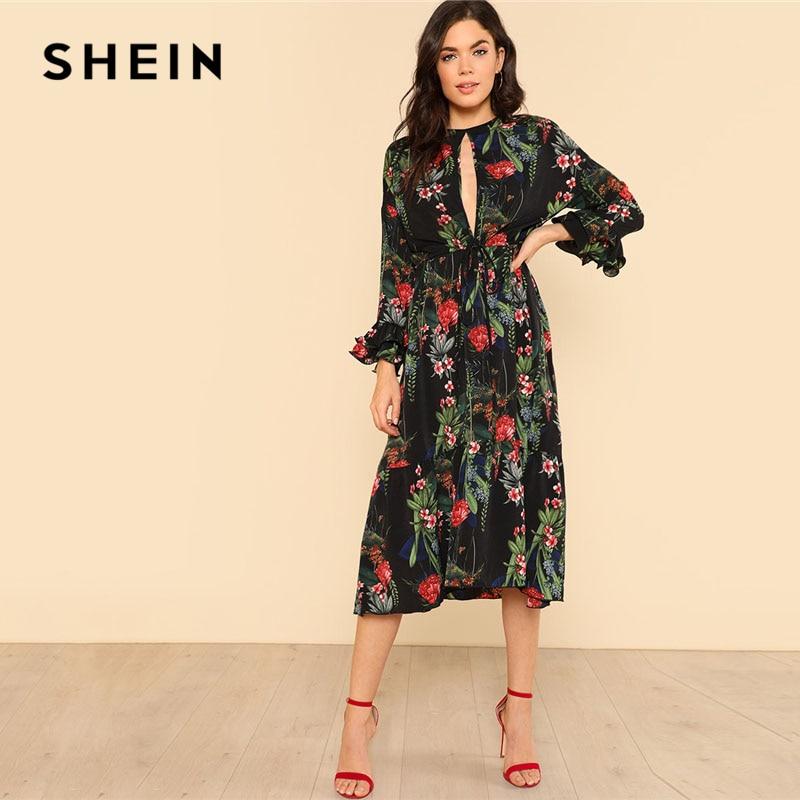 SHEIN Cut Out Front Tie Waist Layered Ruffle Sleeve Floral Dress 2018 Women Round Neck 3/4 Sleeve High Waist Loose Dress