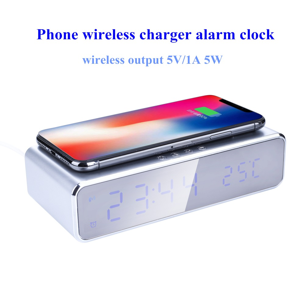 HTB1kCbvN3HqK1RjSZFEq6AGMXXah Electric LED alarm clock with phone wireless charger Desktop digital thermometer clock HD mirror clock with Time memory
