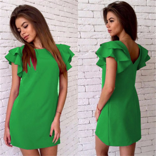 Summer Dress 2017 New Fshion Style Butterfly Sleeve Casual Dress Red Sexy Backless Beach Mini Party Club Dresses