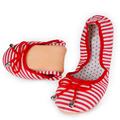 Bailarinas Plegables Pajarita Zapatos Planos del Ocio de las mujeres de La Manera Rayó Imprimir Casual Zapatos de Verano Transpirable Doug Zapatos Del Barco