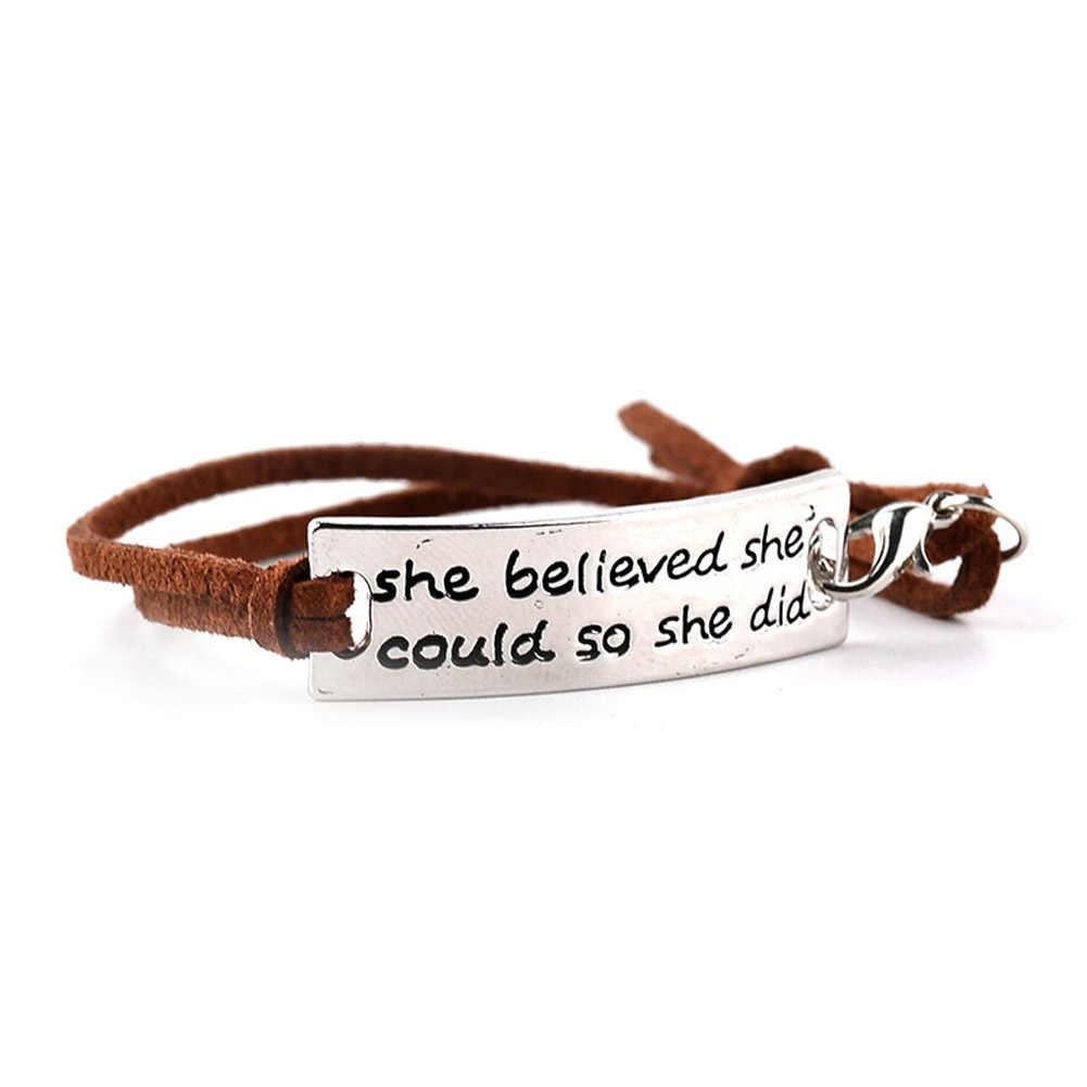 Она верила, что может, так что она сделал DIY великолепное предложение Кожаные Браслеты Регулируемая кожаная цепочка для женщин и мужчин подарки