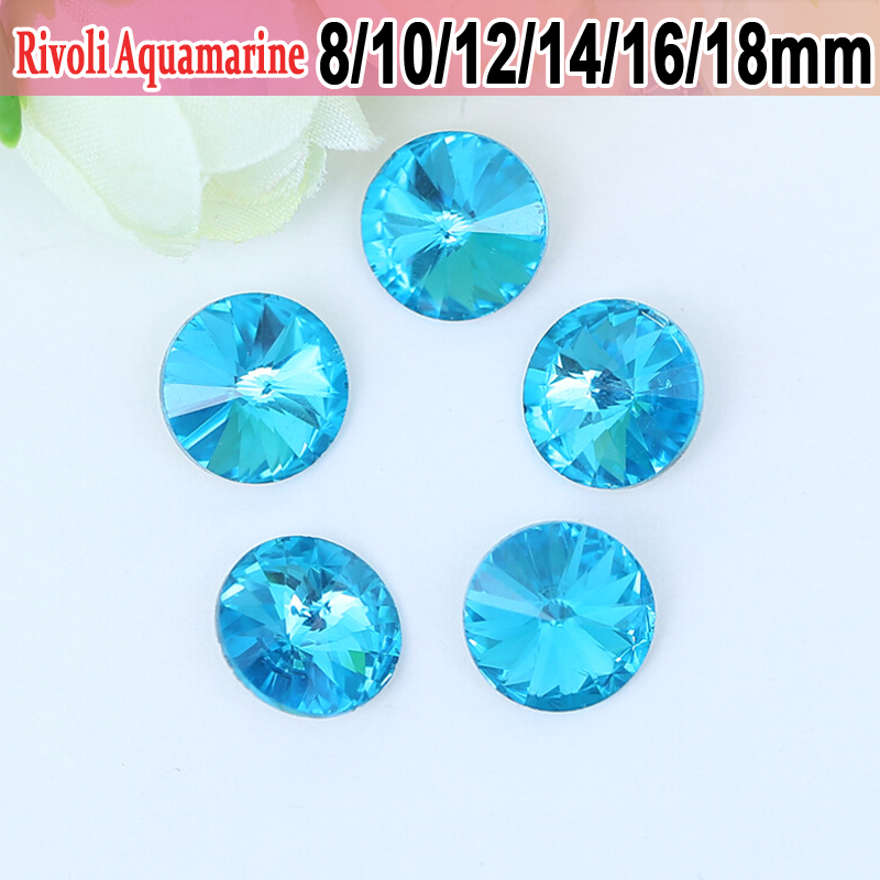 Rivoli Glass Glitter Strass Bling Pointback Aquamarine 12mm Glue On Rhinestones 10mm 50pcs For Shoes Decorations
