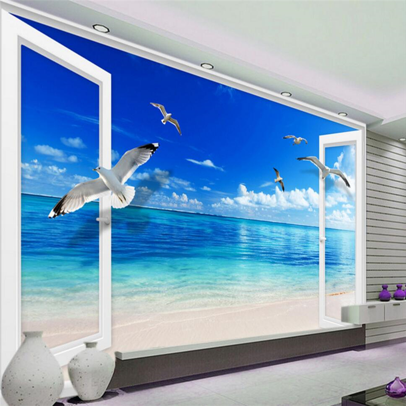 beibehang Outside window Ocean blue sky Custom 3D mural wallpaper for wall TV backdrop bedroom living room sofa mural wall paper