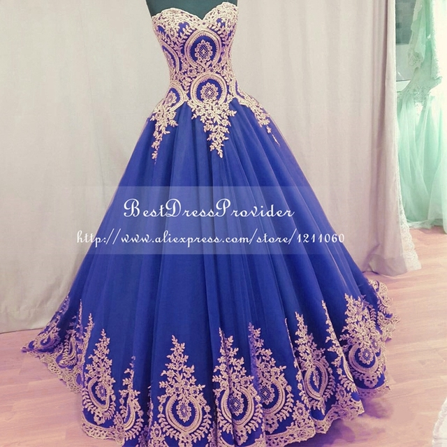 Real Sample Long Evening Dress 2017 Ball Gown Sweetheart Formal Dresses Gold Lace Royal Blue Women