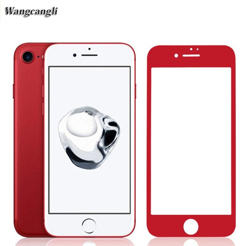 imágenes para Wangcangli China Rojo 3D superficie de cobertura completa de vidrio templado 9 H película para el iphone 7 plus HD pantalla de protección contra explosiones película
