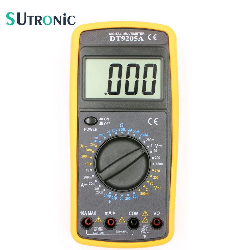 DT9205A Basic Digital Multimeter Capacitance hFE Test Ammeter Voltmeter Resistance Tester AC DC Electric LCD Handheld new portable dt9208a 1999 counts lcd display multimeter electric handheld ac dc resistance capacitance voltmeter ammeter