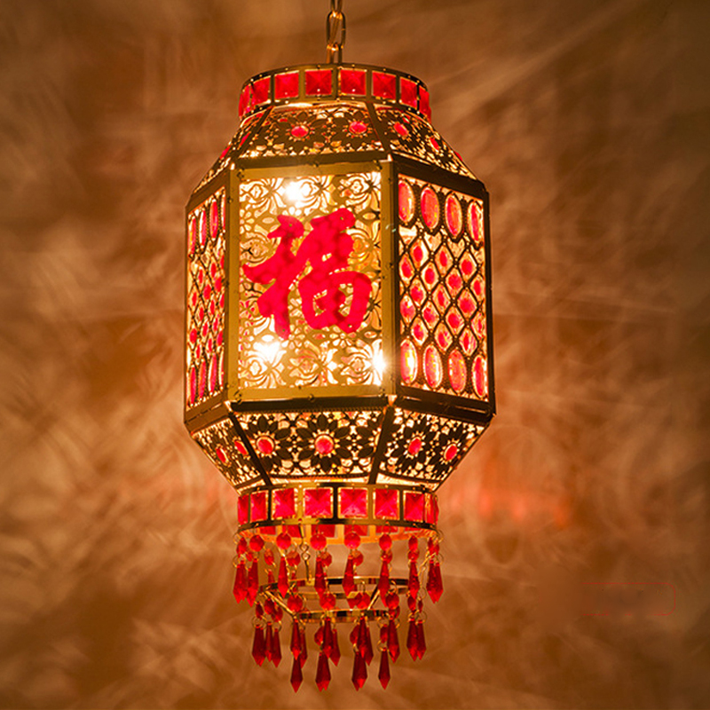 Chinese antique Lantern pendant hotel light Festival Spring holiday balcony new year six angle rotating lanterns ZA11169