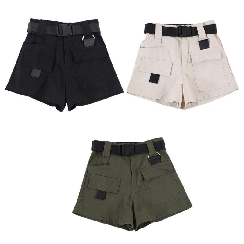 Womens Summer High Waist Mini Cargo Shorts Quick Release Buckle Belt Casual Wide Leg Loose ShortsWith Pockets Hip Hop Streetwear