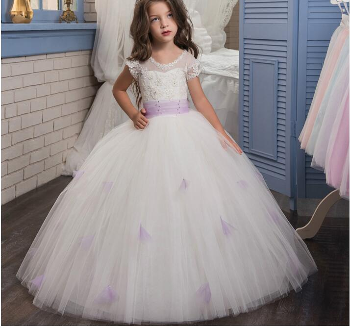 2017 NEW Baby Princess Flower Girl Dress Lace Appliques Ball Gowns Birthday First Communion Dress Toddler Kids TuTu Gown 2017 new beading lace v neck flower girl dress baby prom girls dress holy first communion dress kids birthday princess dresses