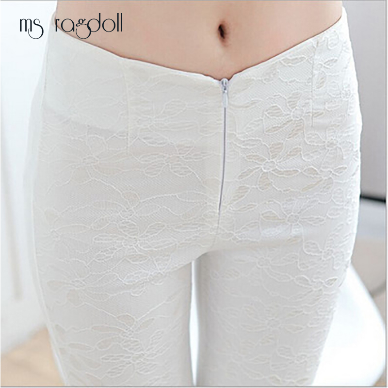 Plus Size Lace High Waist Elastic Black Sexy Leggings Trousers Women Stretch Korean Pencil Skinny Pants Leggins Mujer