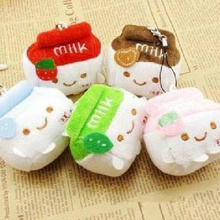 Super Cute Novelty Milk CAN Plush , 7CM Stuffed Toy Doll ; 6Colors. String Keychain Toy Bouquet Flower Plush Toy Dolls