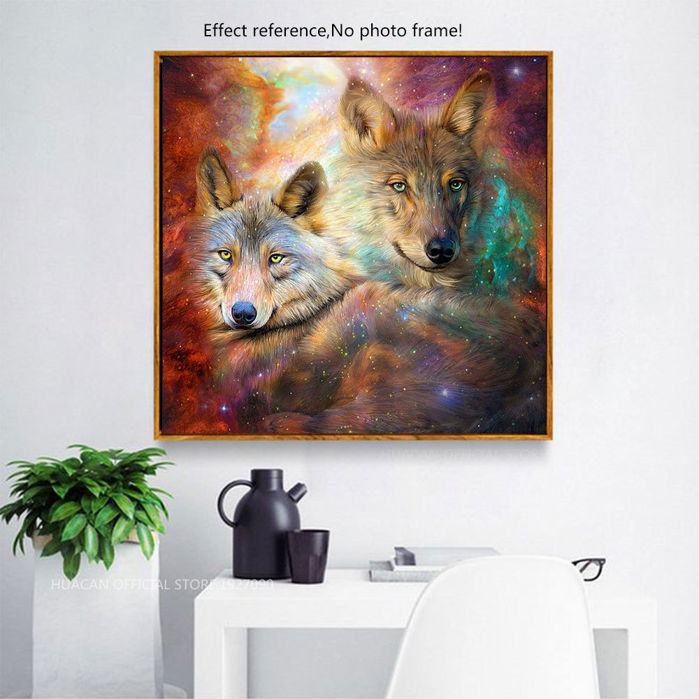 HUACAN Mosaic 5D DIY Diamond Embroidery Animals Diamond Painting Wolf Cross Stitch Full Square/Round Drill Decoration Home