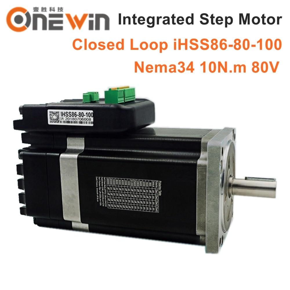 NEMA34 Integrated Closed Loop Stepper Motor 80V 10Nm 2 phase iHSS86 80 100 Hybrid stepper servo