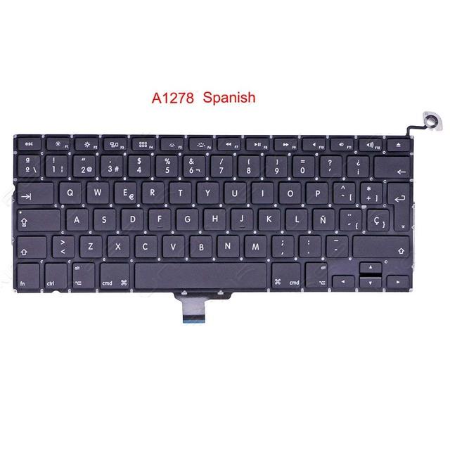"""Español teclado del ordenador portátil nuevo 2009-2012 13 """"para apple macbook pro a1278 teclado sp teclado de reemplazo"""