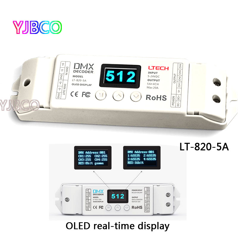 LT-820-5A 8/16 bits optional,OLED Display 4channel constant voltage LED DMX-PWM  Decoder Dimmer;5A*4channel MAX 20A output lt 810 10a led constant voltage dmx pwm decoder 1ch dimming dedicated 10a 1channel output