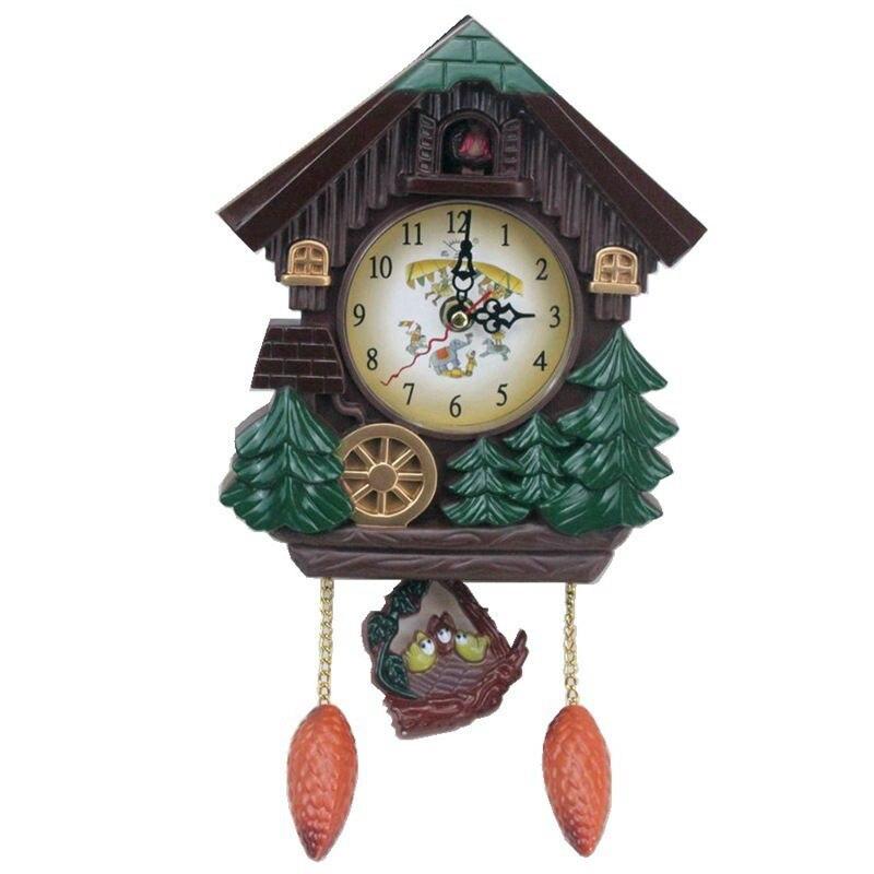 House Shape 8 Inches Wall Clock Cuckoo Clock Vintage Bird Bell Timer Living Room Pendulum Clock Craft Art Clock Home Decor