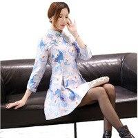 Schlank Blume Mini Moderne Qipao Handmade Taste A-Line Chinesischen Kleid Sping Neue Druck Stehkragen Cheongsam Heißer Verkauf S-XL