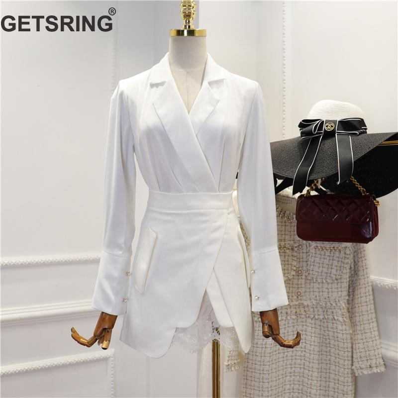 GETSRING Women Set V-Neck Suit Coat High Waist Lace Stitching Skirt 2 Piece Set Women Black White Casual Sexy Sets 2019 New Sexy