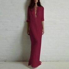 5XL Plus Size Vestidos 2019 Spring Fashion Women Sexy Casual Shirt Dress Long Sleeve Deep V Neck Split Solid Long Maxi Dress