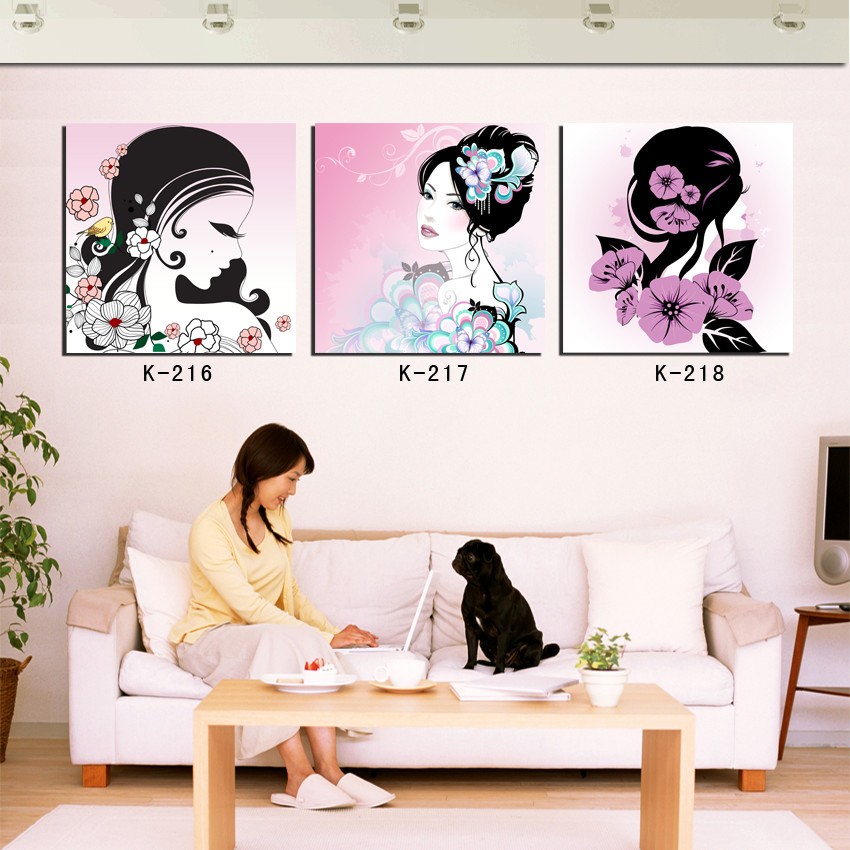beautiful paintings women portrait art canvas picture modern home decor 3 panel wall decor girls bedroom