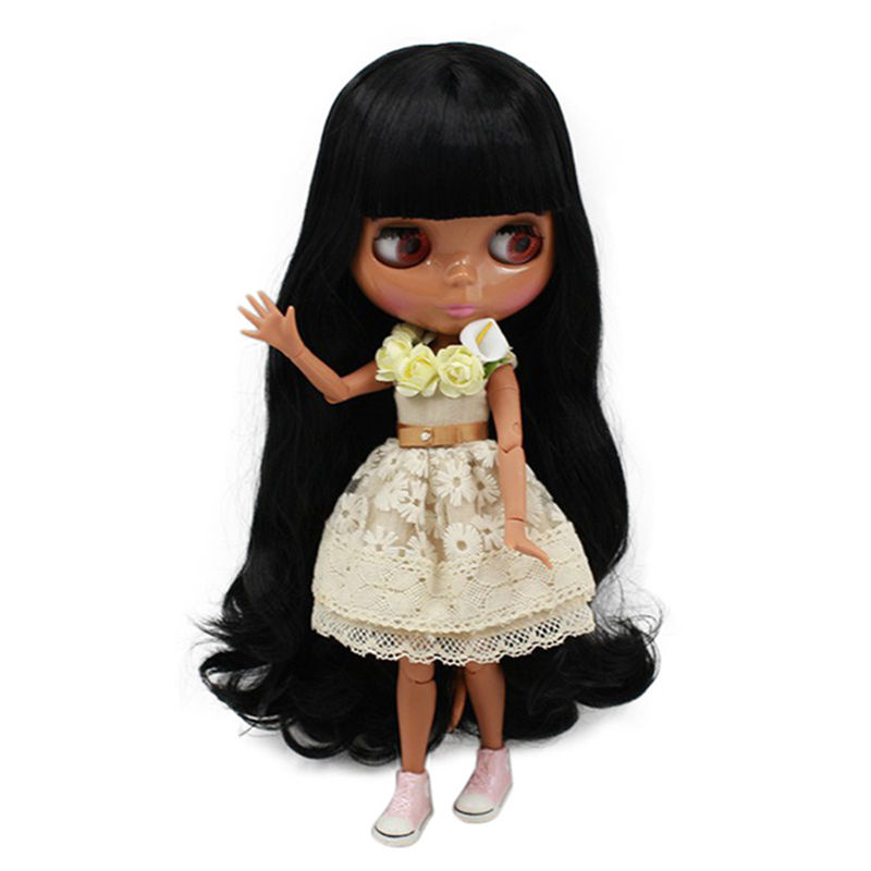 factory blyth doll 1 6 bjd dark skin 280BL117 JOINT body Long black hair with bangs