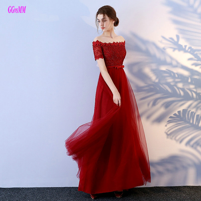 Fashion Crimson Evening Party Dresses Long 2018 Sexy Plus Size Formal Dress  Boat-Neck Tulle Lace Beading Lace-Up Evening Gowns e6fd505c57c4