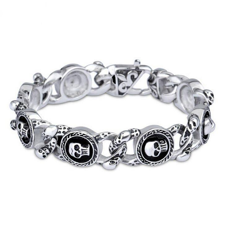 Fashion Jewelry 22CM * 16MM Heavy Chain Link Stainless Steel Skull ...
