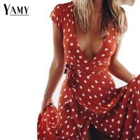 2018 Long Summer Dress Sexy V Neck Short Sleeve Maxi Dresses Dot Print Beach Sundress Vintage
