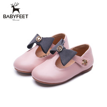 New Baby Shoes First Walkers Soft Bottom Cow Muscle Toddler Flat Sole Bow Decoration Lovely Princess Shoes Baby Girls