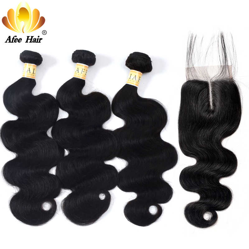 AliAfee Hair Peruvian Hair Bundles With Closure Non Remy Hair Weave Peruvian Body Wave Human Hair Bundles With Closure 4*4