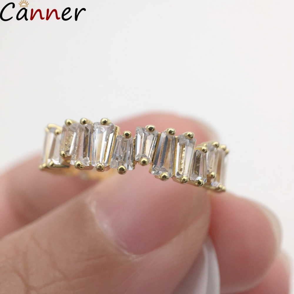 CANNER Rainbow Nature Stone Rings For Women Engagement Geometric Trapezoid Crystal Ring Rhinestone Anillos Jewelry Gift F4