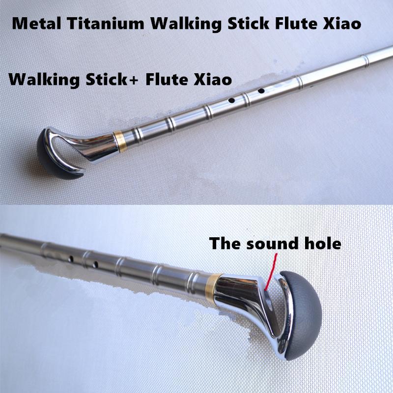 Métal Titane Flûte Xiao + Canne G/F Clé Flûte Traversière Xiao Flauta Profissional Instrument de Musique Auto- arme de défense