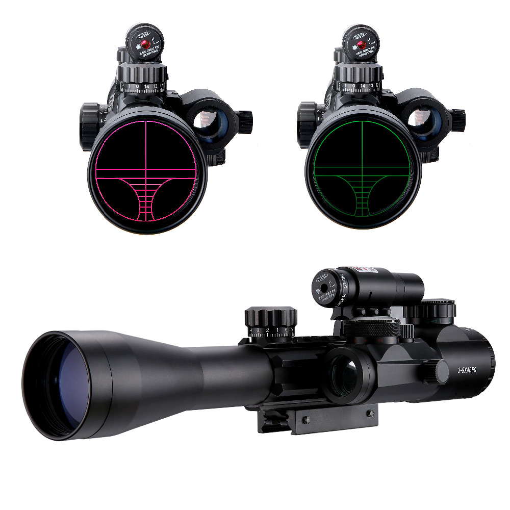 3-9X40EG Tactical Riflescopes Sight Scope Red Green Illuminated Tactical Riflescope + Red Laser Sight + Holographic Dot Sight 3 10x42 red laser m9b tactical rifle scope red green mil dot reticle with side mounted red laser guaranteed 100%