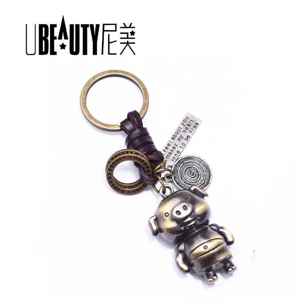 UBEAUTY البرونز الكرتون خنزير حلقة رئيسية عشاق شنطة هدايا قلادة المرأة حلقة رئيسية حلية سلسلة مفاتيح سلسلة المفاتيح سيارة تشافيرو مبتكرة