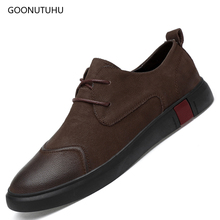 Fashion men's shoes genuine leather loafers man youth casual shoes men black & brown driving platform shoes for men big size 46 цена