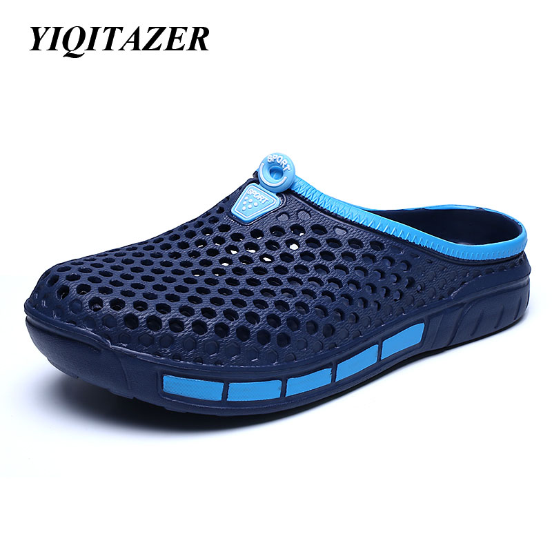 YIQITAZER 2017 New Fashion Cool Summer Shoes Man,Water Slippers Men Shoes  Light High Quality PVC Material yiqitazer 2017 new summer fashion casual shoes men breathable cool lace up high quality man leather shoes size 7 9 5