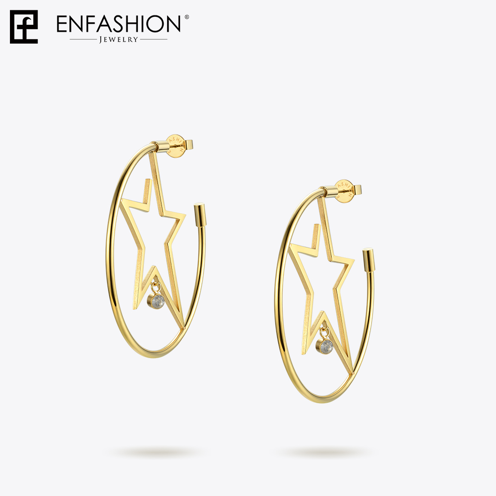 Image 5 - Enfashion スターフープイヤリングゴールド色出穂ステンレス鋼ビッグフープイヤリング女性のファッションジュエリー卸売 ED181079フープイヤリング   -