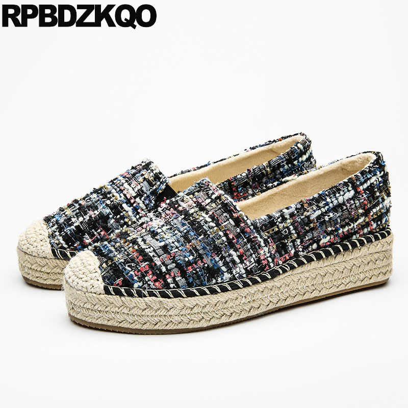 892dafa3b ... Hemp Creepers Platform Shoes Woven Women Rope Elevator Latest Thick Sole  Breathable Straw Muffin Flats Espadrilles ...
