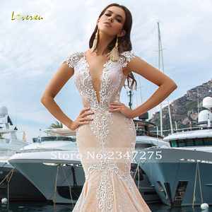 Image 3 - Loverxu Sexy Illusion V Neck Lace Mermaid Wedding Dresses 2020 Embroidery Appliques Court Train Trumpet Vintage Bridal Gowns
