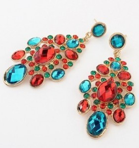 Trend Europe Charms Rhinestone Exaggerated Large Stud Earrings C4R19
