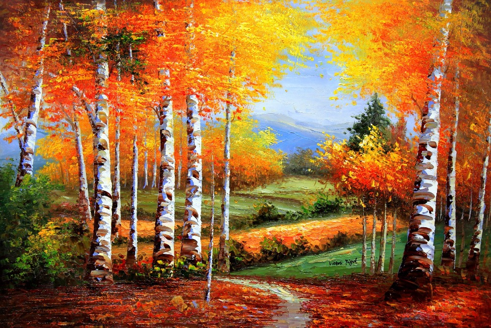 landscape maple leaves in autumn beauty nature vintage oil art retro decorative poster diy wall home bar posters home decor gift autumn furniture