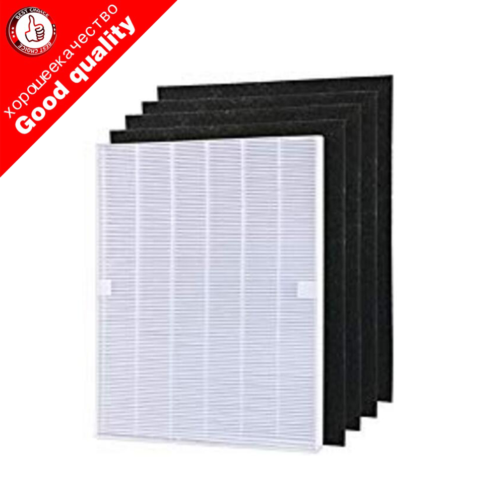 4 pieces Air Purifier Parts Carbon pre-filters and 1 piece Main HEPA filter for Winix 115115 5300 5500 6300