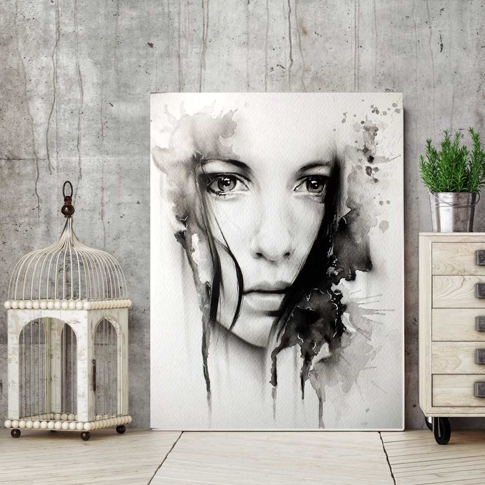 Black and White Watercolor Portrait Wall Art Canvas Print Woman Face Inkjet Painting for Office Room Wall Decor Drop Ship Custom